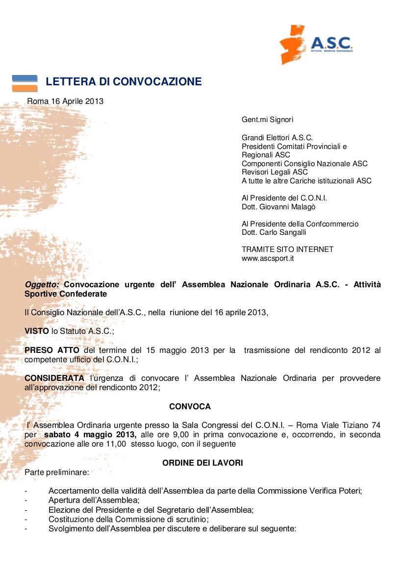 lettera di convocazione assemblea Nazionale 2013