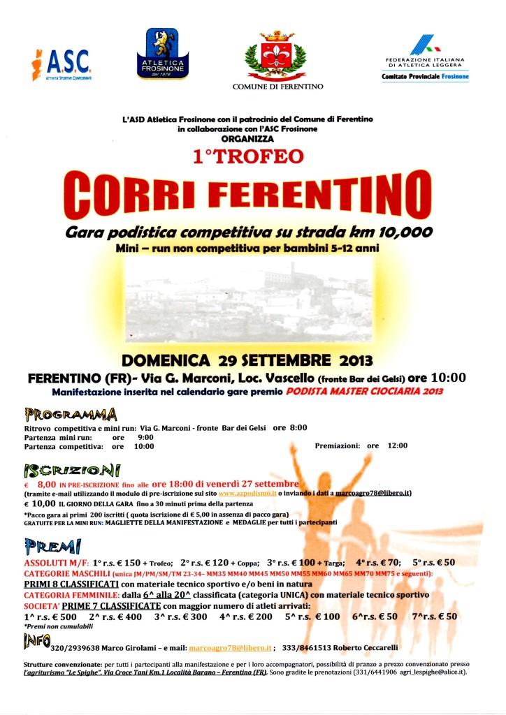 1° Trofeo Corri ferentino Locandina