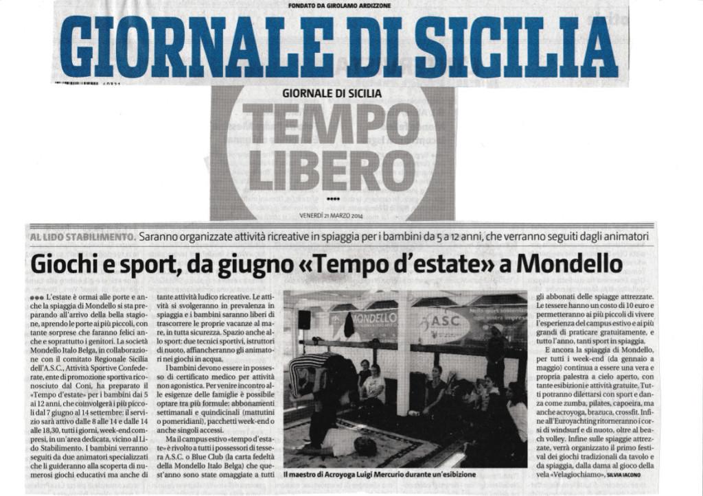 Pagina Tempo Libero Giornale di Sicilia 21-03-2014