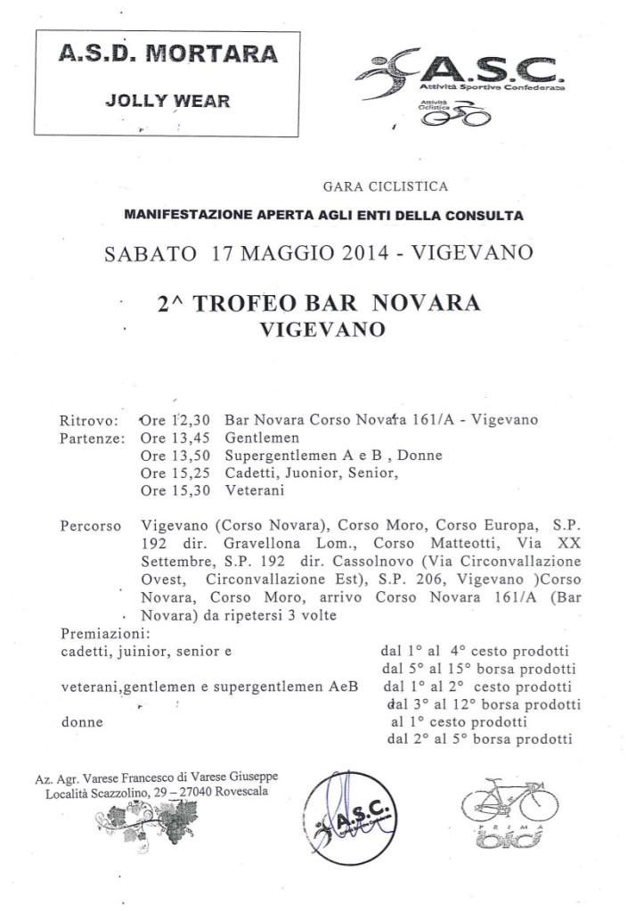 """Gara Ciclistica """"2° Trofeo Bar Novara, Vigevano"""""""