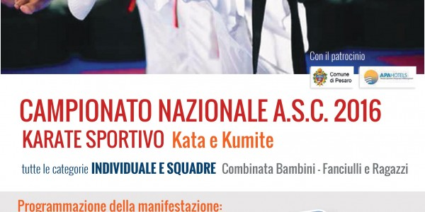 ORARI DEFINITIVI CAMPIONATO NAZIONALE KARATE A.S.C.