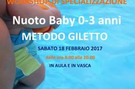 WORKSHOP DI SPECIALIZZAZIONE ASC - Nuoto Baby 0-3 anni METODO GILETTO