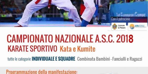 Campionato Nazionale ASC 2018 Karate Sportivo Kata e Kumite