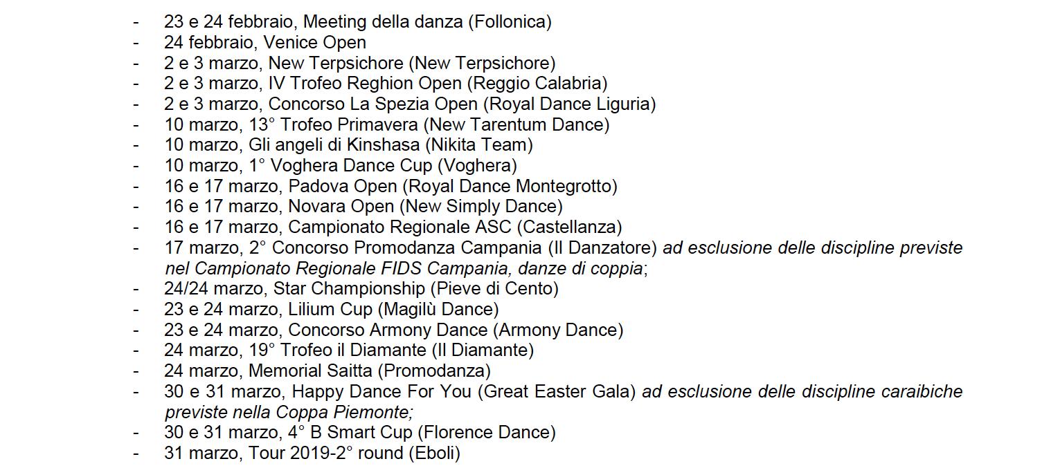 Calendario Fids.Calendario Gare Febbraio Marzo Asc Danza Approvato Fids