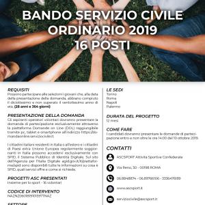 BANDO SERVIZIO CIVILE ORDINARIO 2019 – 16 POSTI