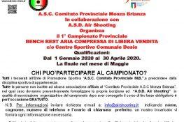 1   Campionato Provinciale BENCH REST ARIA COMPRESSA DI LIBERA VENDITA ASC MONZA BRIANZA