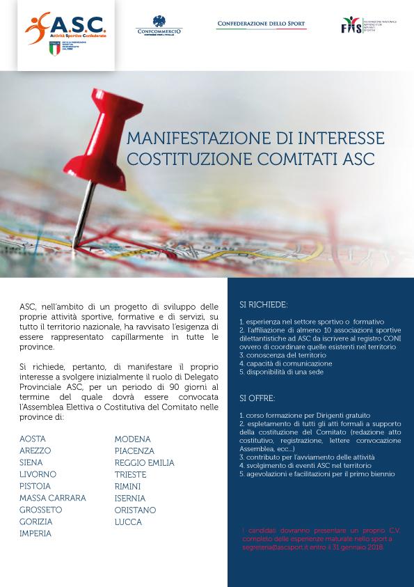 Manifestazione di interesse Costituzione Comitati ASC