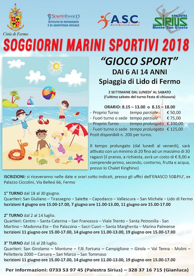 Soggiorni Marini Sportivi 2018 ASC