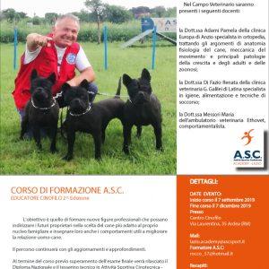 CORSO DI FORMAZIONE EDUCATORE CINOFILO – ASC Academy Lazio