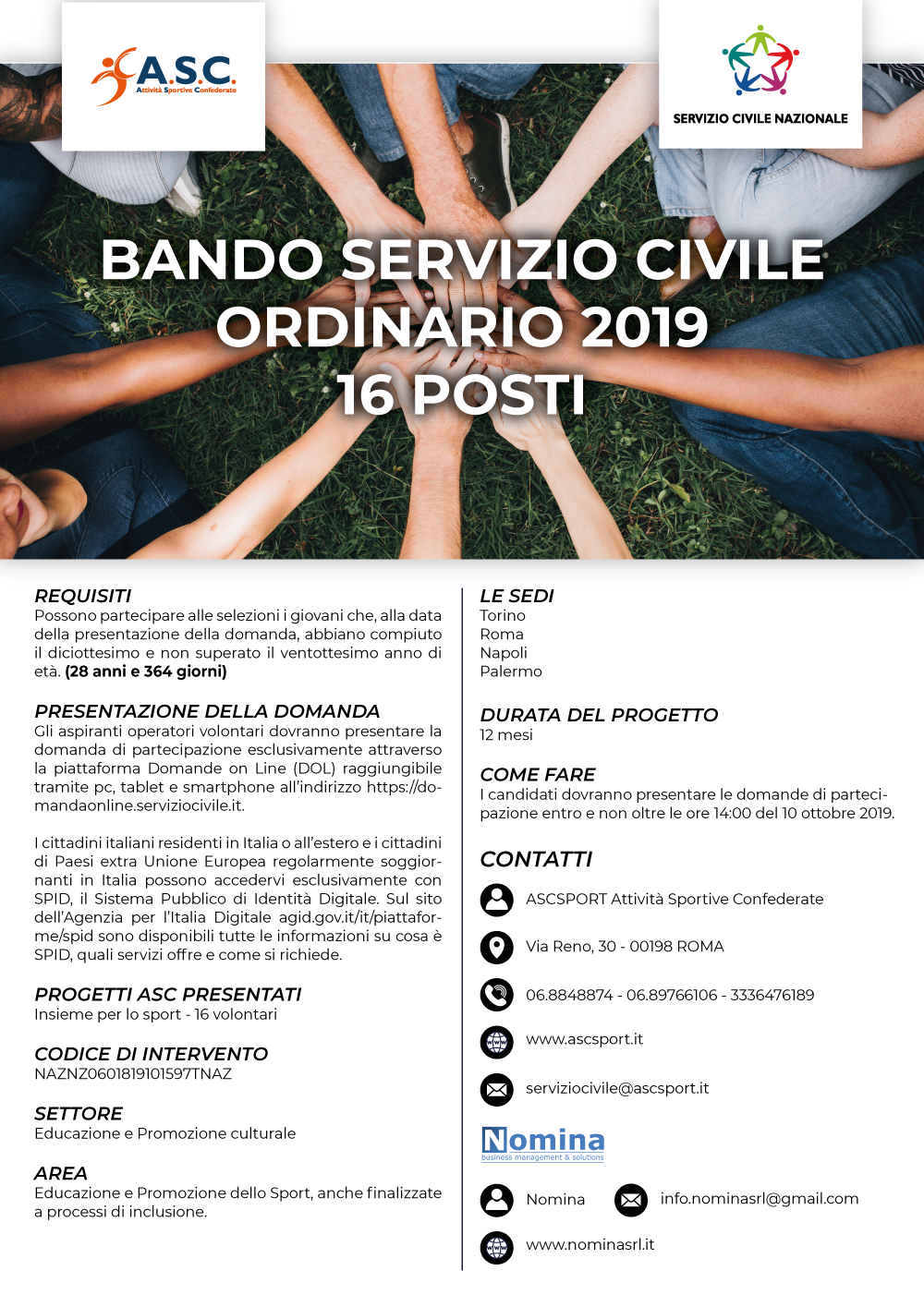 BANDO SERVIZIO CIVILE ORDINARIO 2019 - 16 POSTI