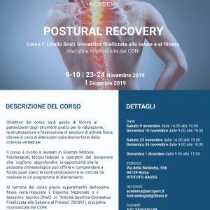 POSTURAL RECOVERY – Corso di 1 livello SNaQ Ginnastica finalizzata alla salute e al fitness