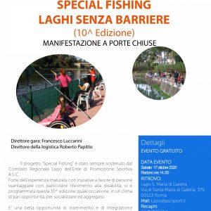 SPECIAL FISHING LAGHI SENZA BARRIERE – (10^ edizione) CON IL CONTRIBUTO DELLA REGIONE LAZIO