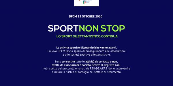 DPCM 13 ottobre 2020 LO SPORT DILETTANTISTICO CONTINUA