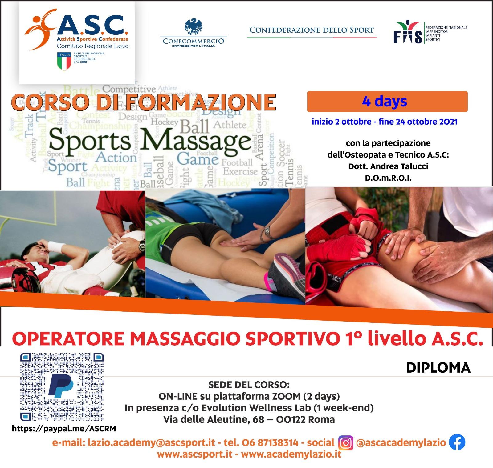 CORSO DI FORMAZIONE OPERATORE MASSAGGIO SPORTIVO 1 LIVELLO